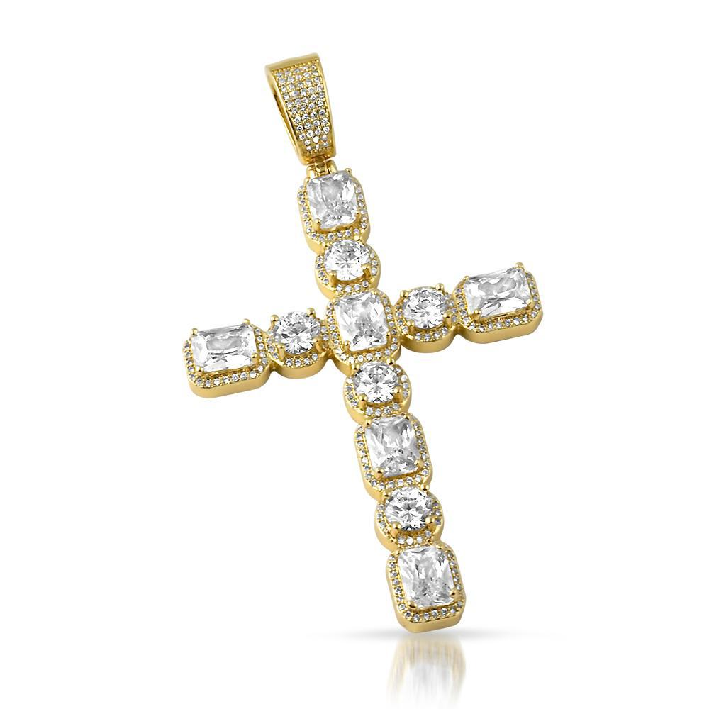 Large 14K Gold Radiant Cut Cross