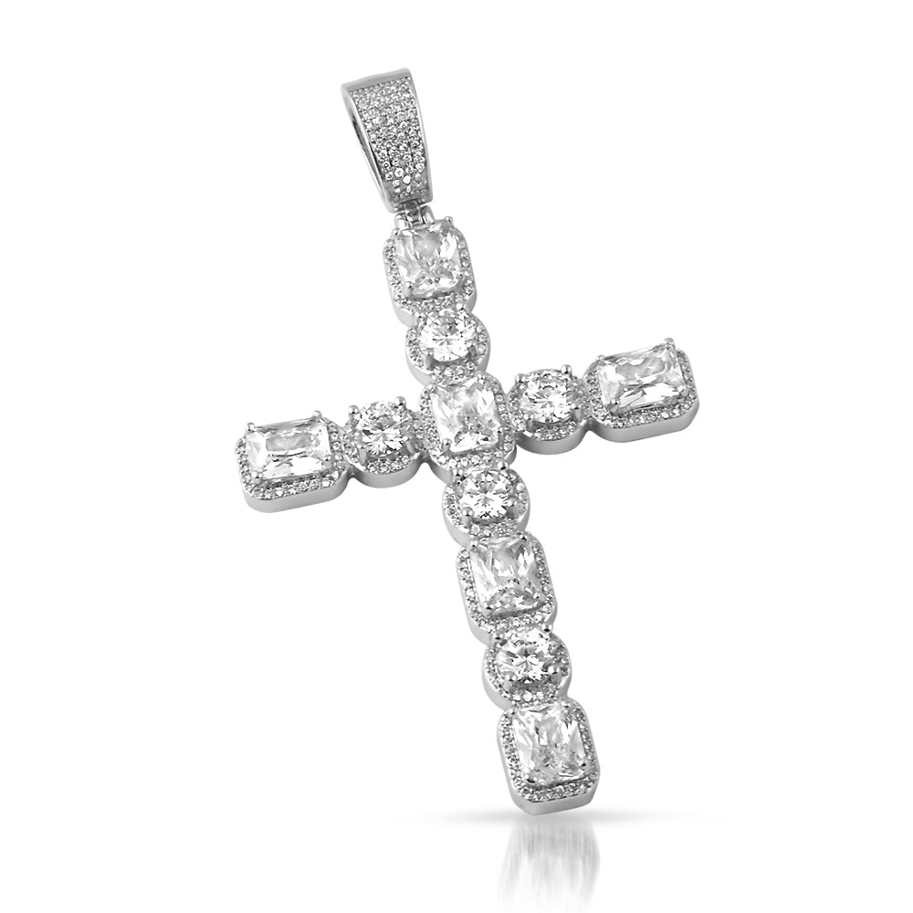 White Gold Radiant Cut Cross