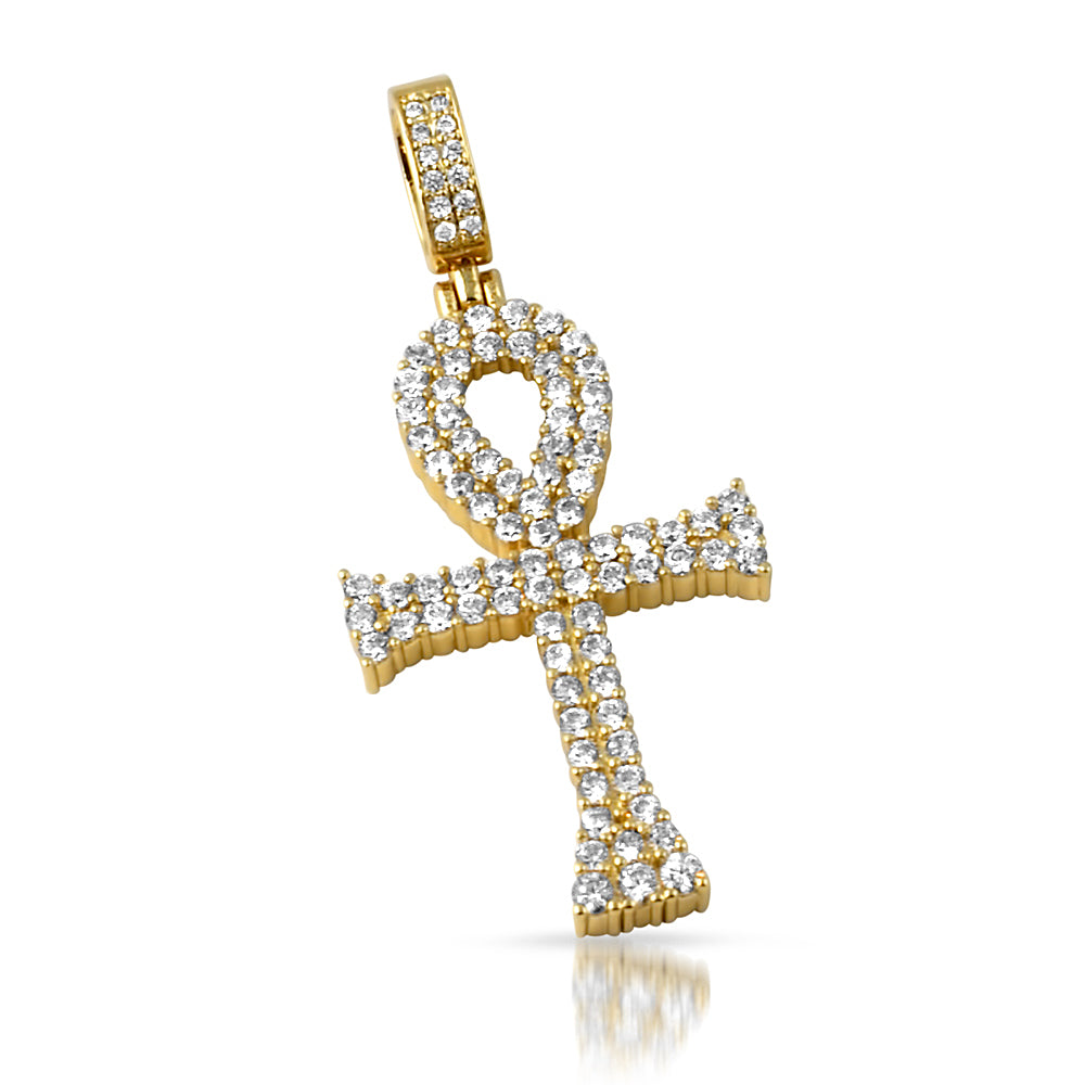 14K Gold Two Row CZ Ankh Pendant