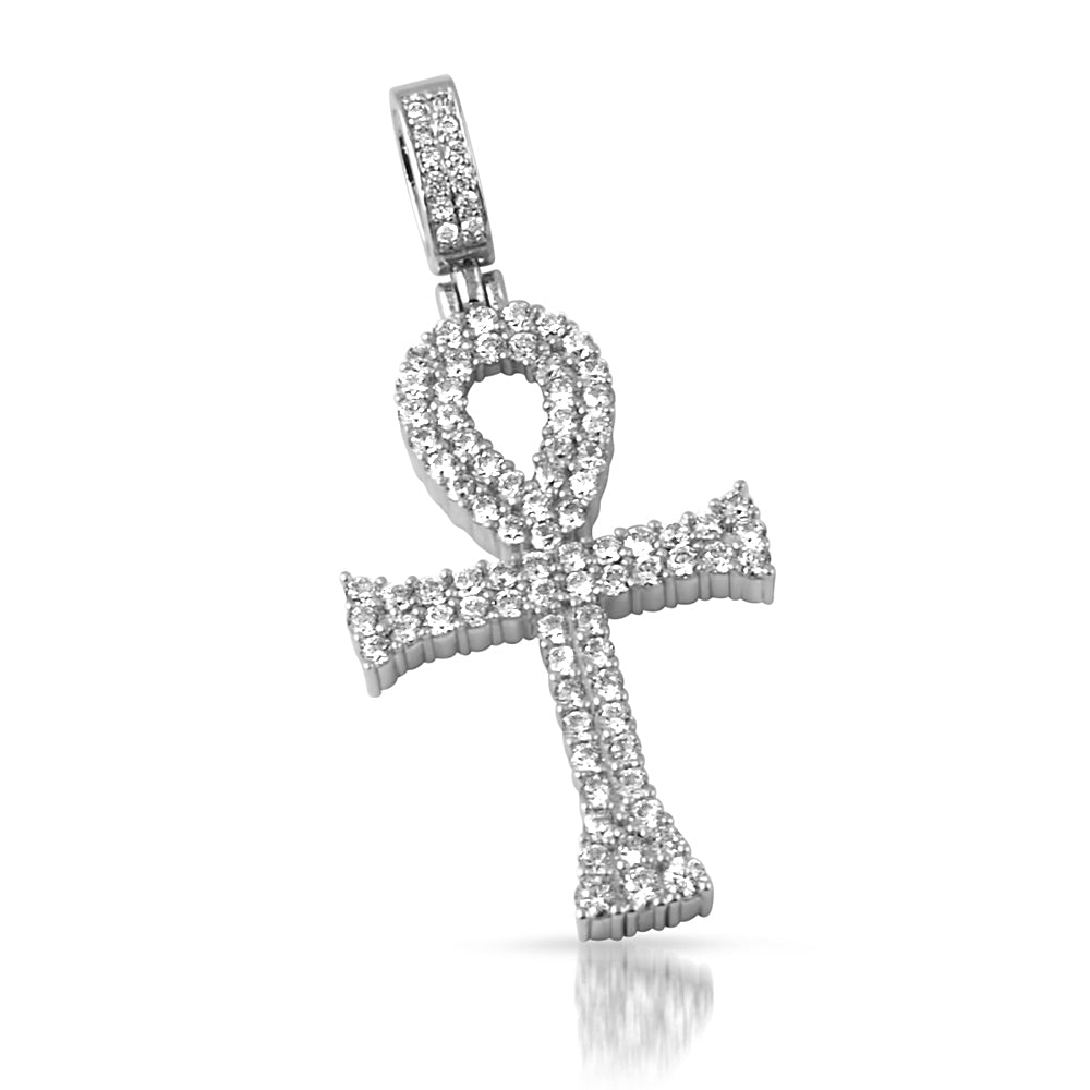 White Gold Two Row CZ Ankh Pendant