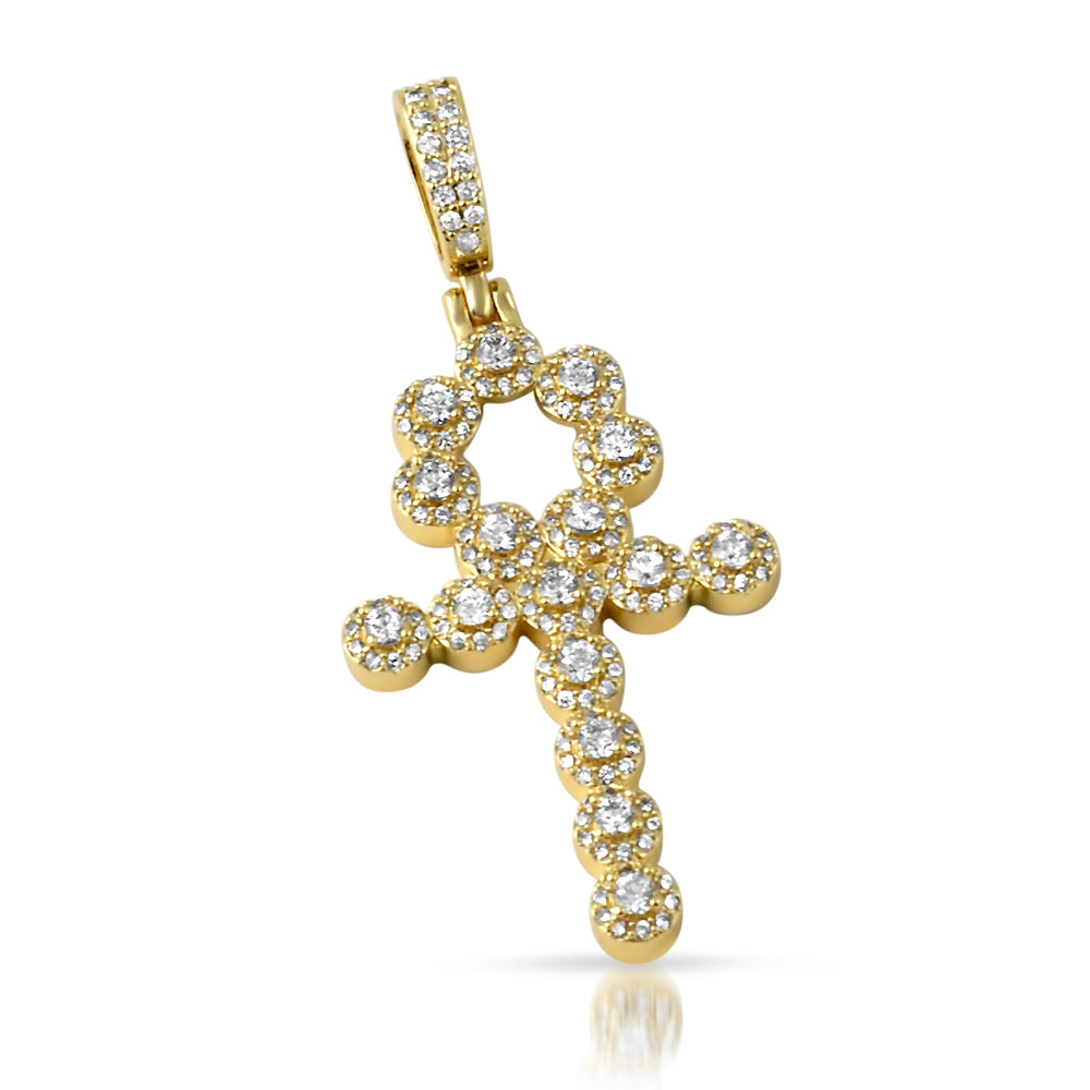 14K Gold Ice Clusters Ankh Pendant