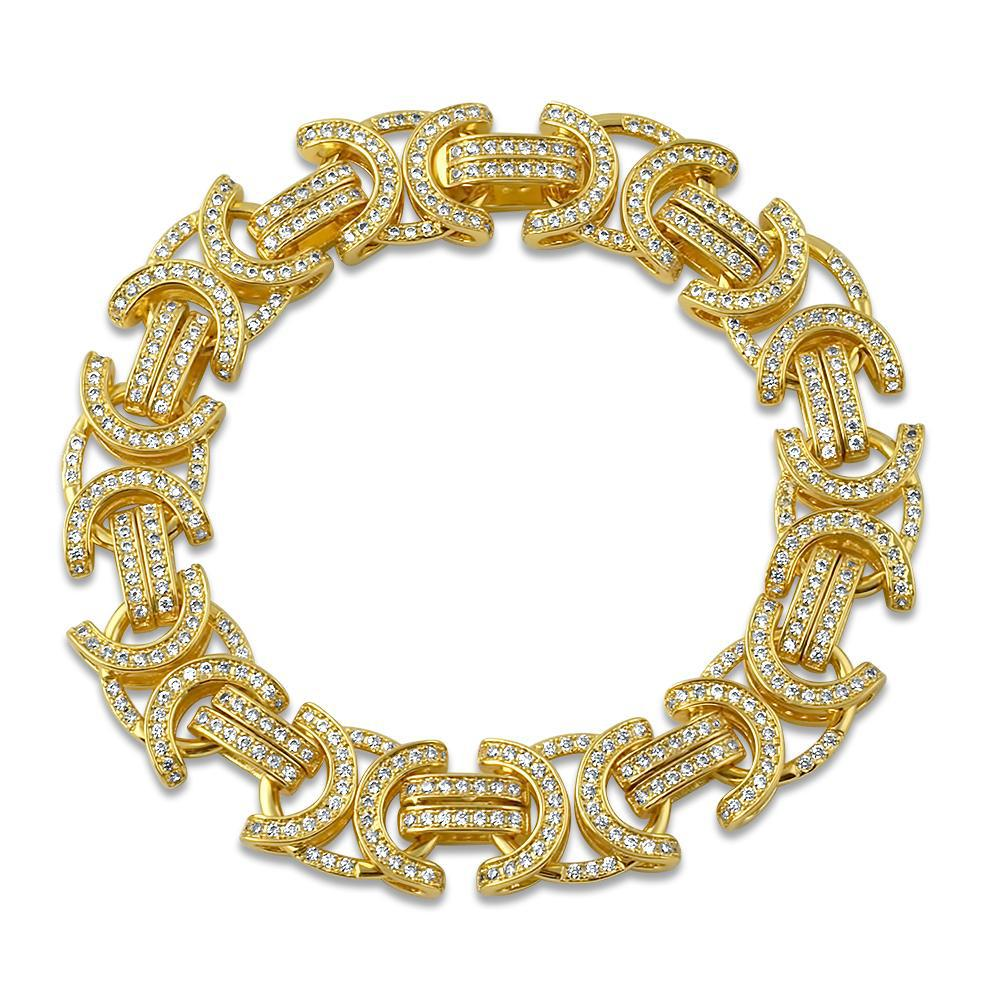 18K Gold Byzantine Iced Out Bracelet