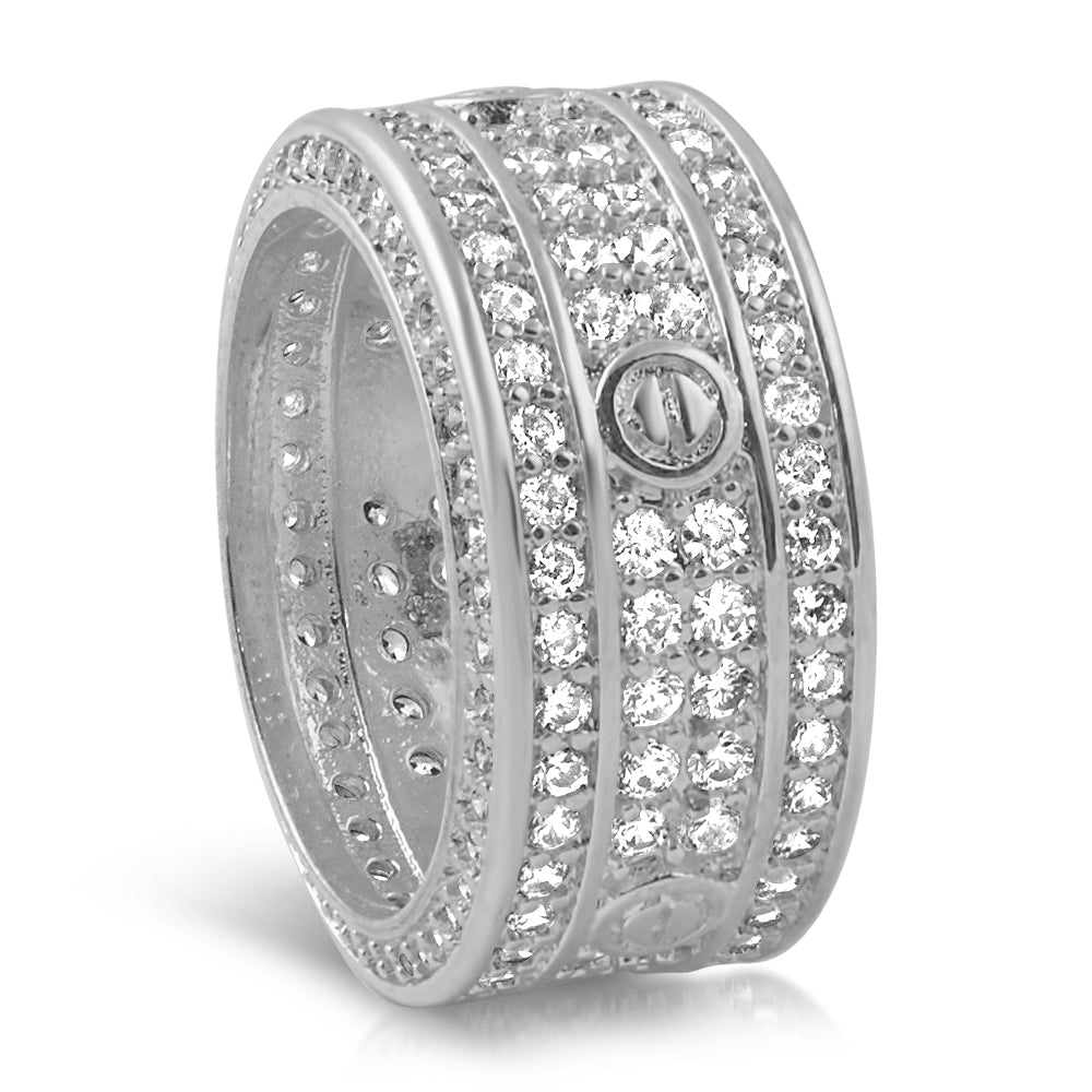 White Gold Designer CZ 360 Ring