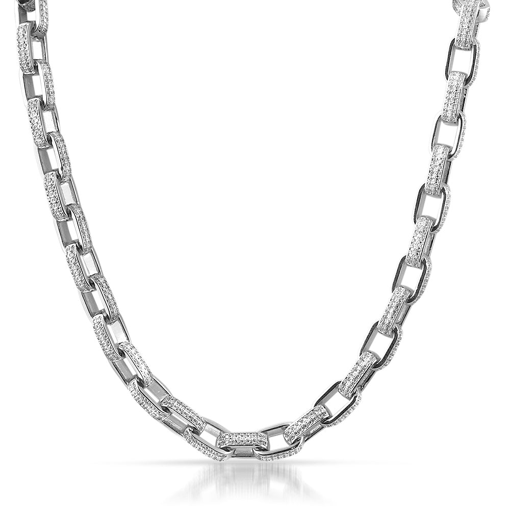 White Gold 3D Fully Iced CZ Box Link Chain