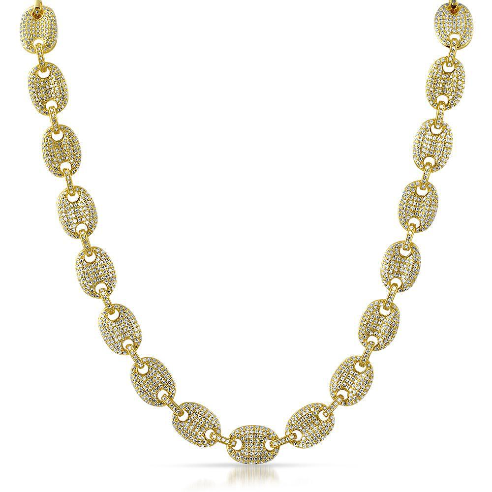18K Gold Puffed Mariner Link Diamond Chain