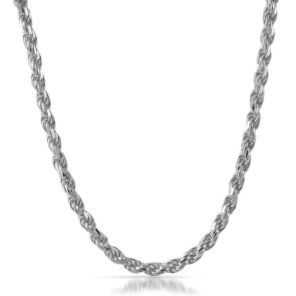 5mm Large 925 Silver Diamond Cut Rope Chain