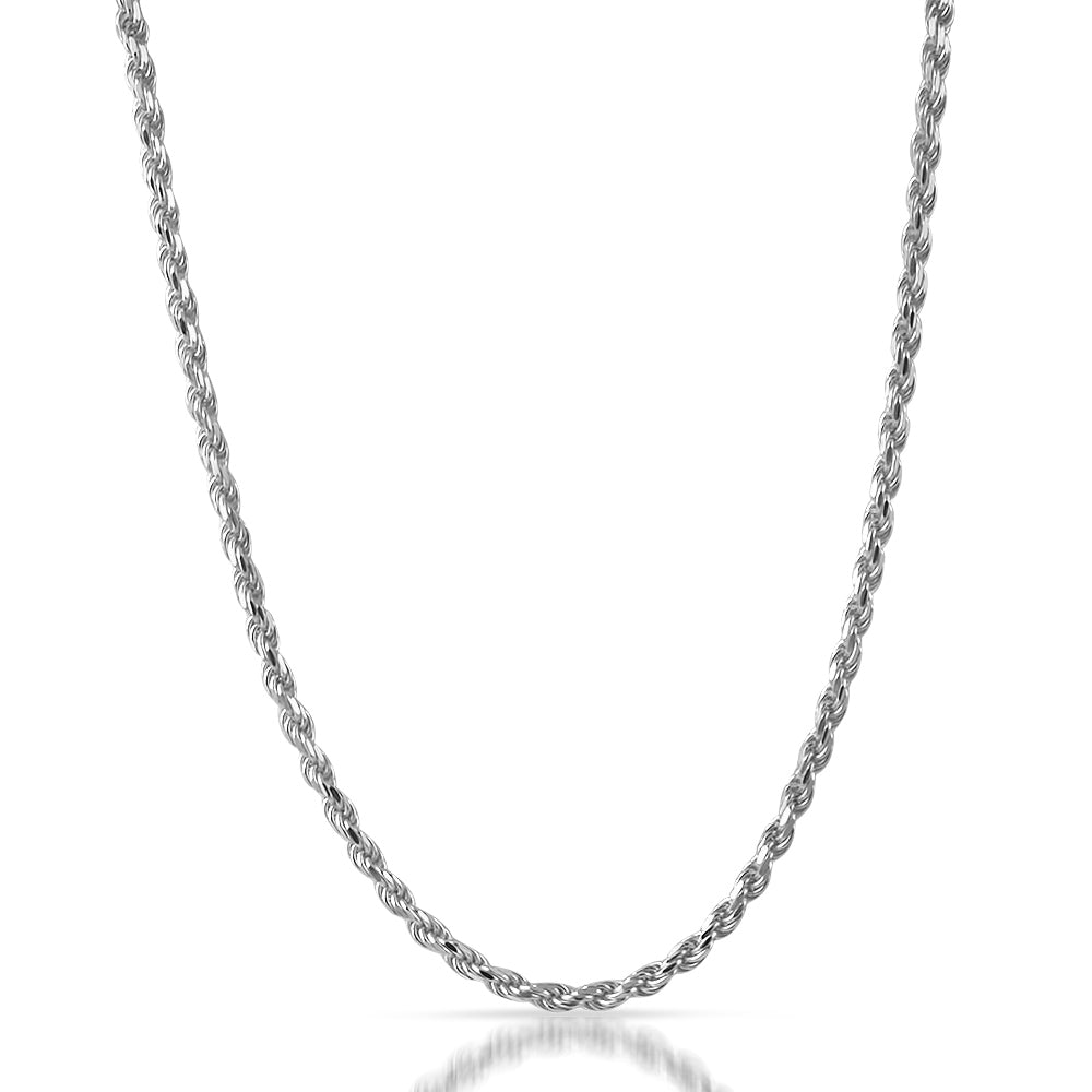 Diamond Cut 4mm Italian Silver Rope Chain