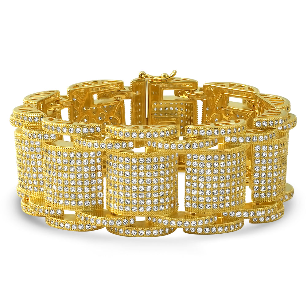 Gold Jumbo Bossman Simulated Diamond Bracelet