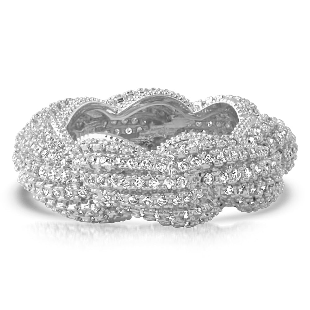 White Gold Bust Down Braided Rope Eternity Ring