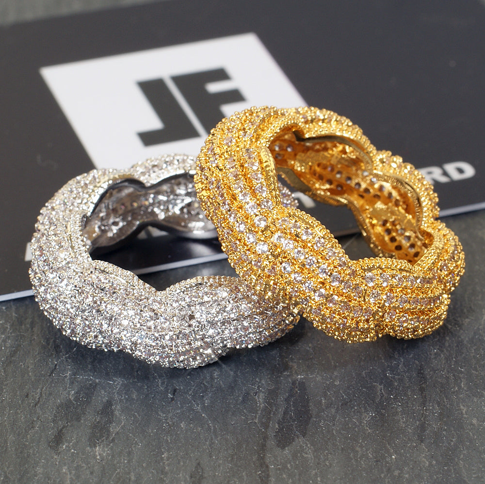 Gold Bust Down Braided Rope Eternity Ring