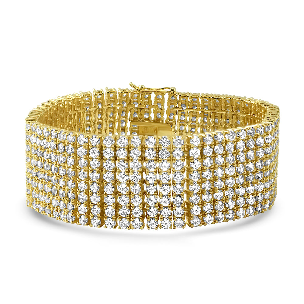 Gold Iced Out 8 Row CZ Bracelet