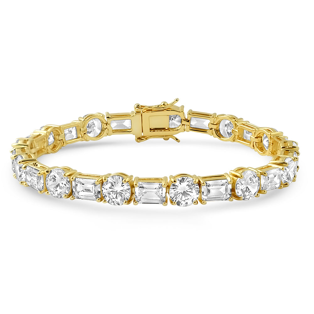 14K Gold Emerald Round Cut Tennis Bracelet