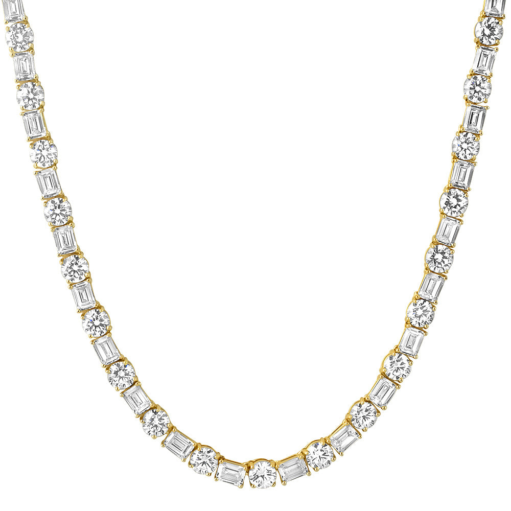14K Gold Emerald & Round Cut Tennis Chain