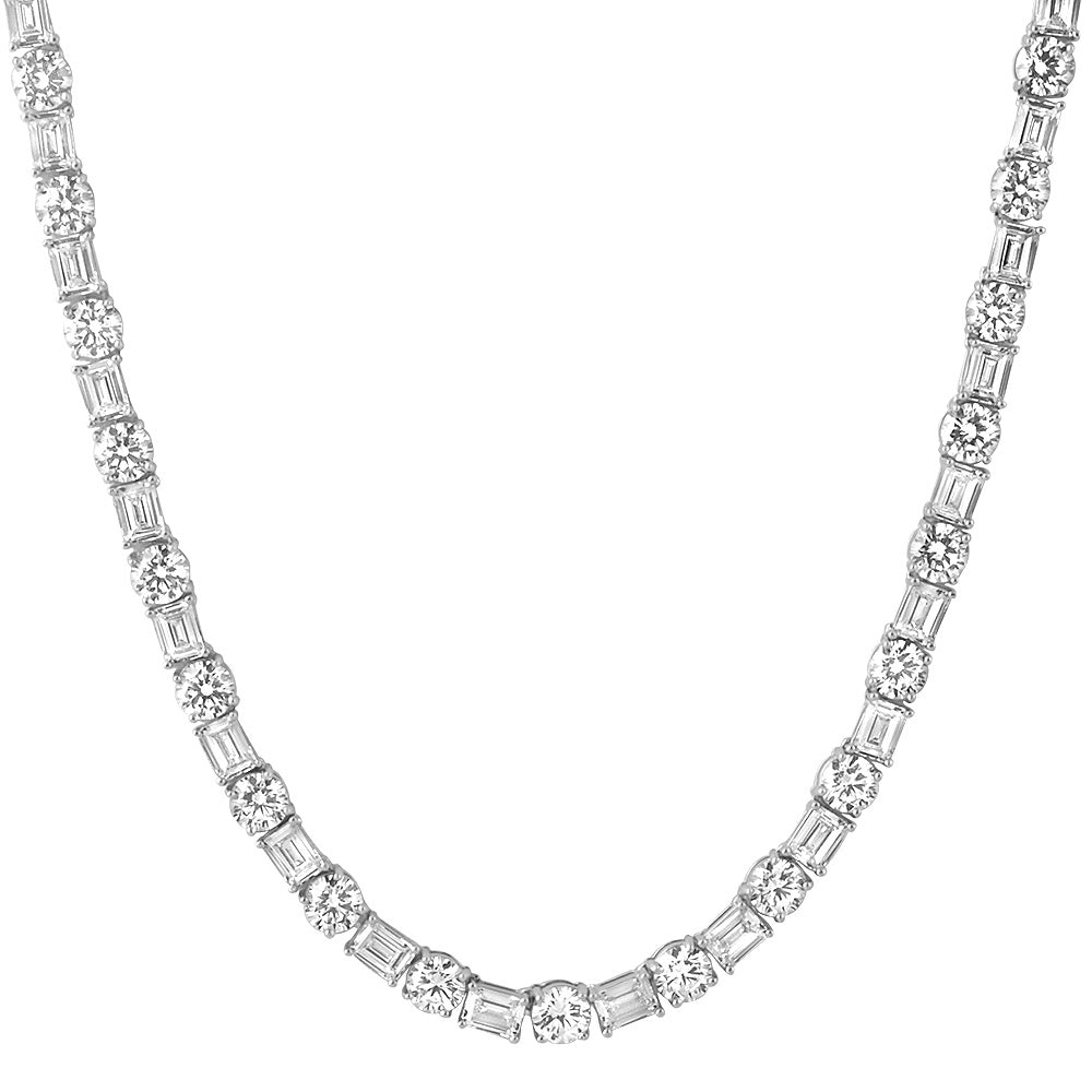 White Gold Emerald & Round Cut Tennis Chain