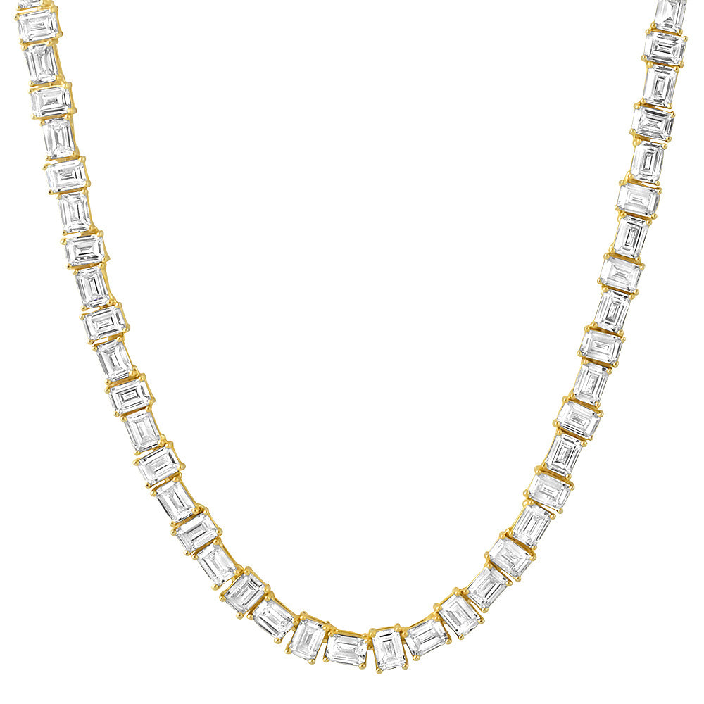 14K Gold Pure Water Emerald Cut Tennis Chain