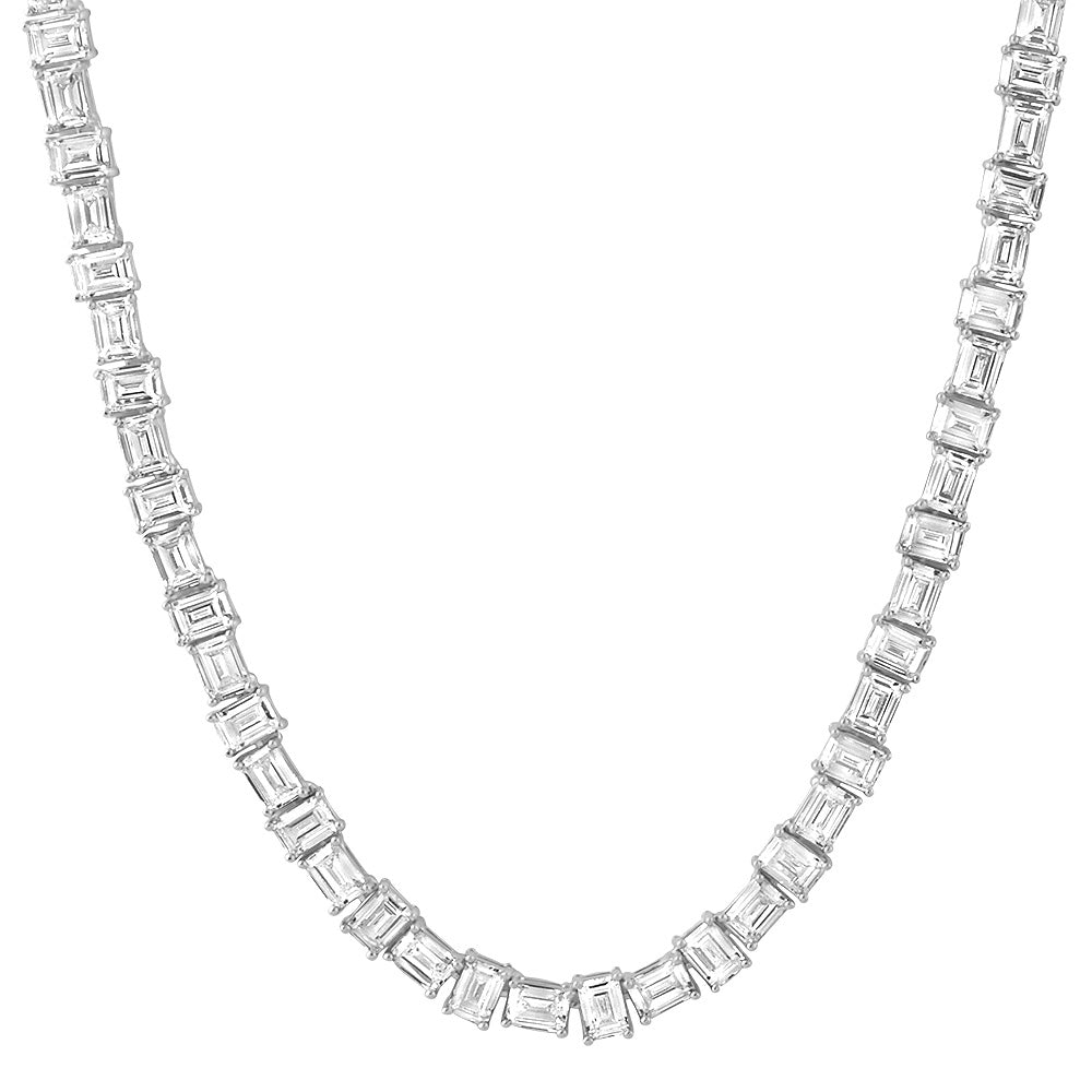White Gold Pure Water Emerald Cut Tennis Chain