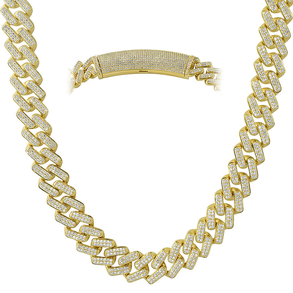 14K Gold Straight Edge Diamond Cuban Chain