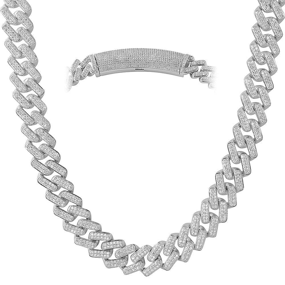 White Gold Straight Edge Diamond Cuban Chain