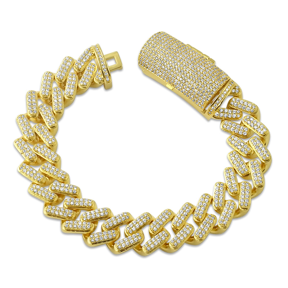 14K Gold Straight Edge Diamond Cuban Bracelet
