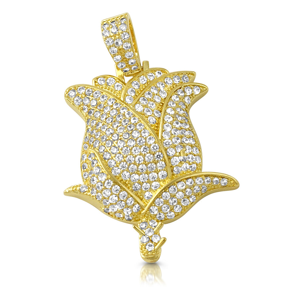 14K Gold Diamond Iced Out Rose Pendant