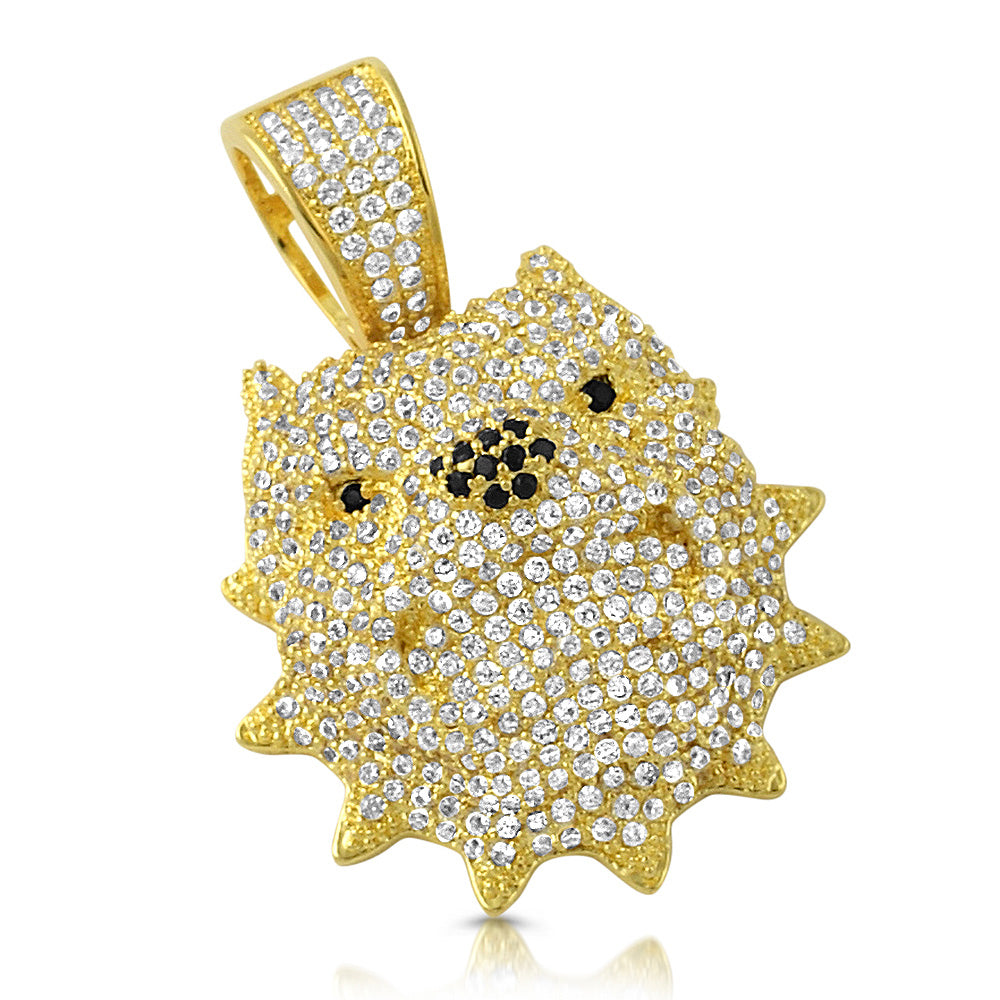 14K Gold 3D Iced Out Small Pitbull Pendant