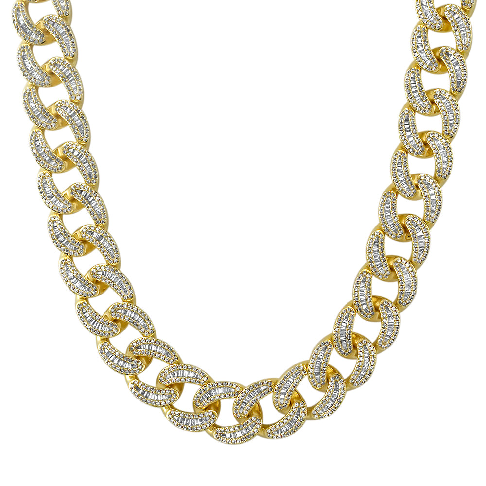 18mm Baguette Diamond Cuban Chain