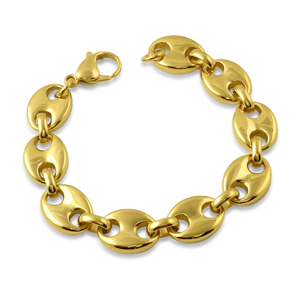 13mm 18K Gold PVD Puffed Mariner Bracelet