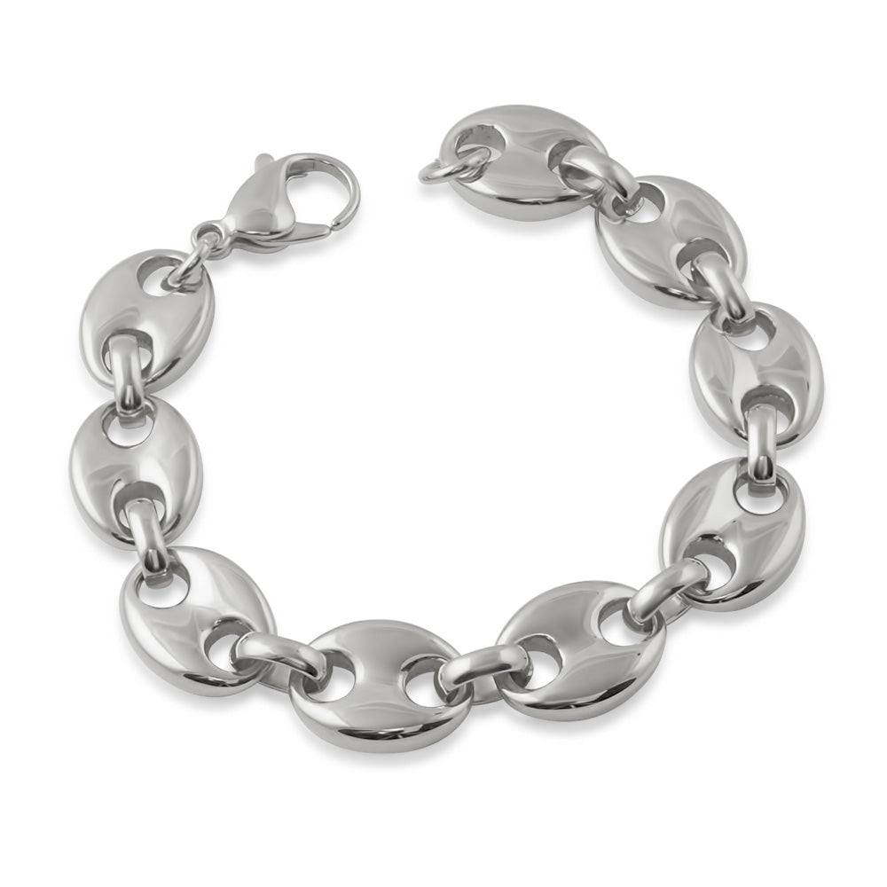 13mm Stainless Steel Puffed Mariner Bracelet