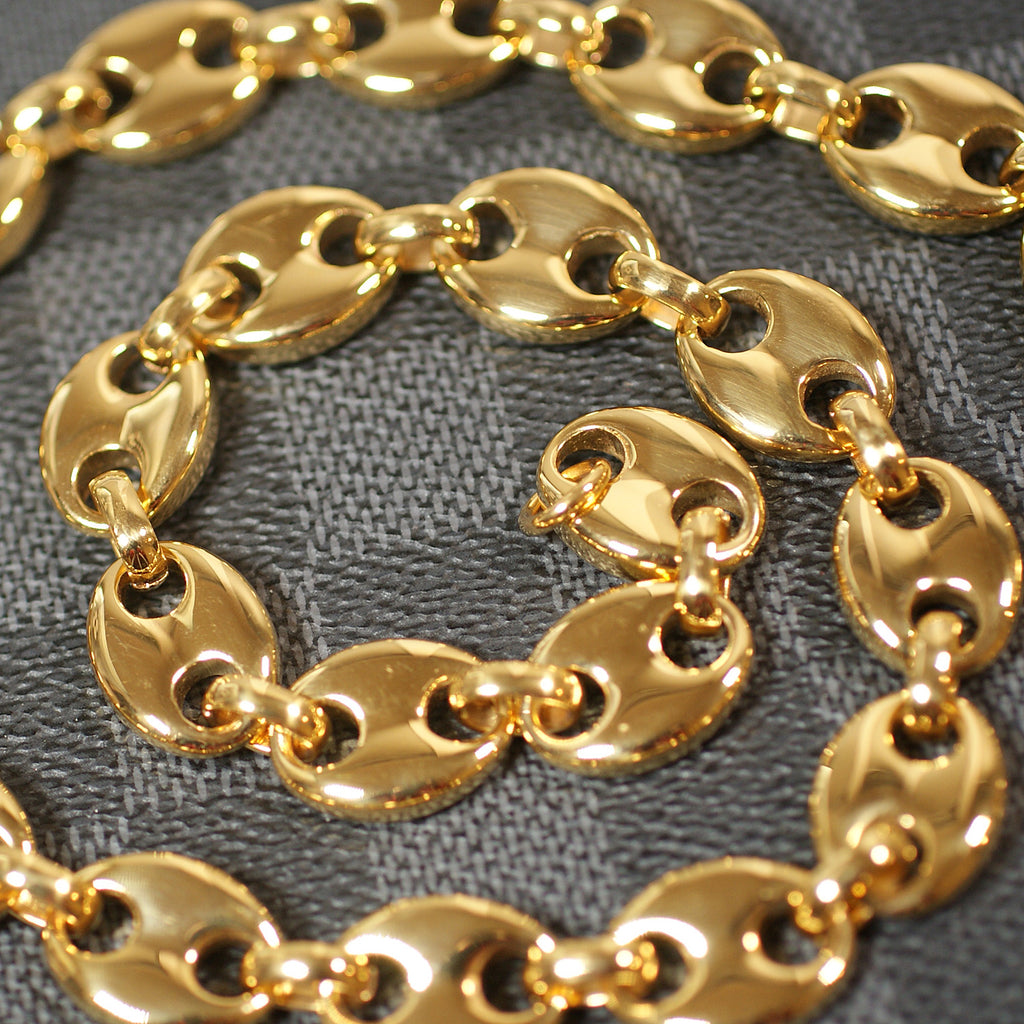 13mm Polished Gold Puffed Mariner Link Chain