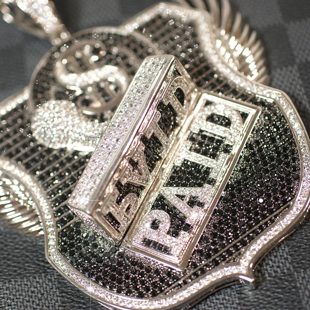 White Gold Jumbo 3D PAID Iced Out Medallion