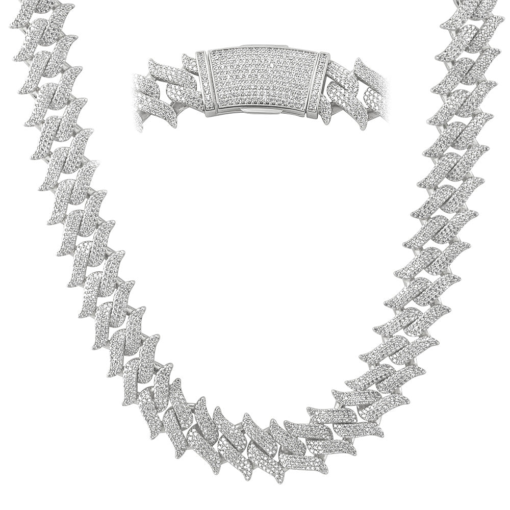 20mm Iced Out Spiked Cuban Cuban Chain