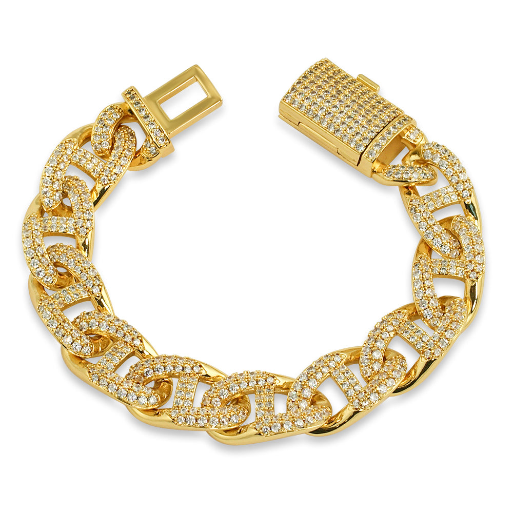 13mm Premium Iced Out Mariner Bracelet