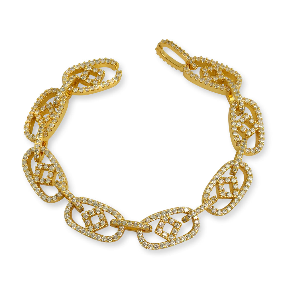 Fancy Oval Links Iced Out Bracelet