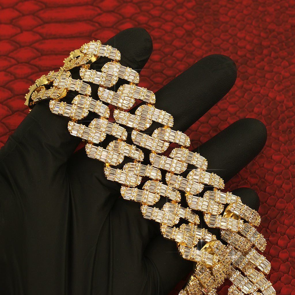 19mm Chandelier Baguette Iced Out Cuban Chain