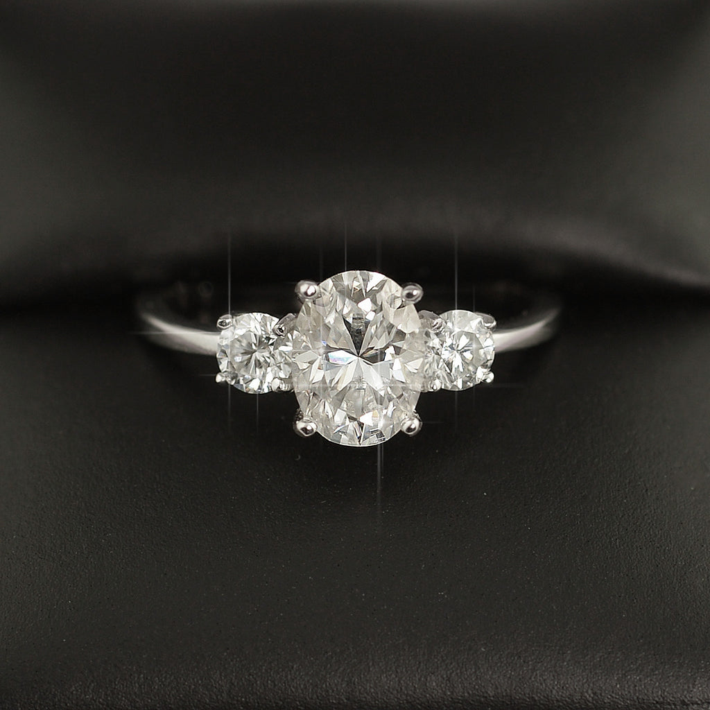 1.9 CTW Oval 3 Stone VVS1 Moissanite Engagement Ring