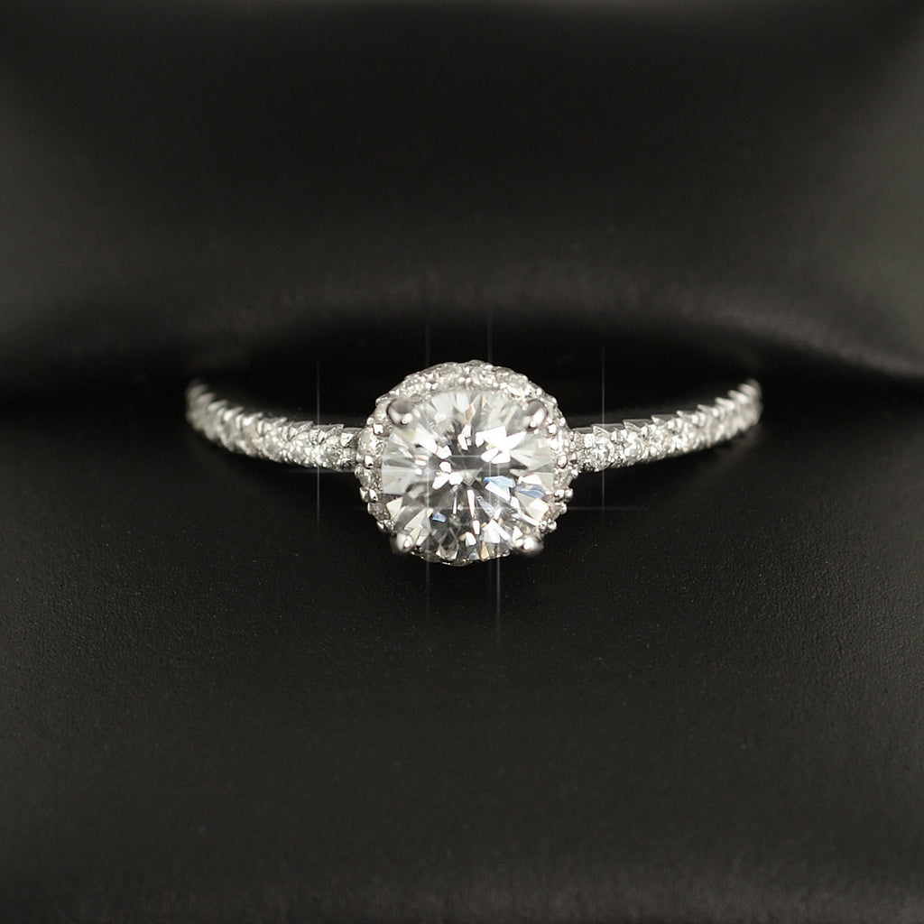1.17 CTW Moissanite Round Fancy Halo Engagement Ring