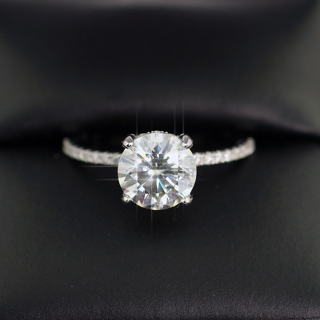 2.29 CTW Moissanite Round Hidden Halo Engagement Ring