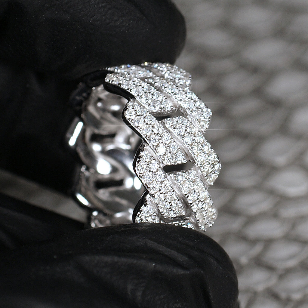 3 Carat VVS1 Moissanite Cuban Link Ring