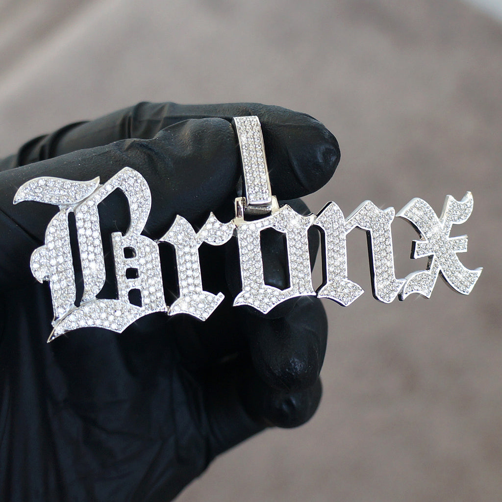 Old English Font Iced Out Custom Pendant