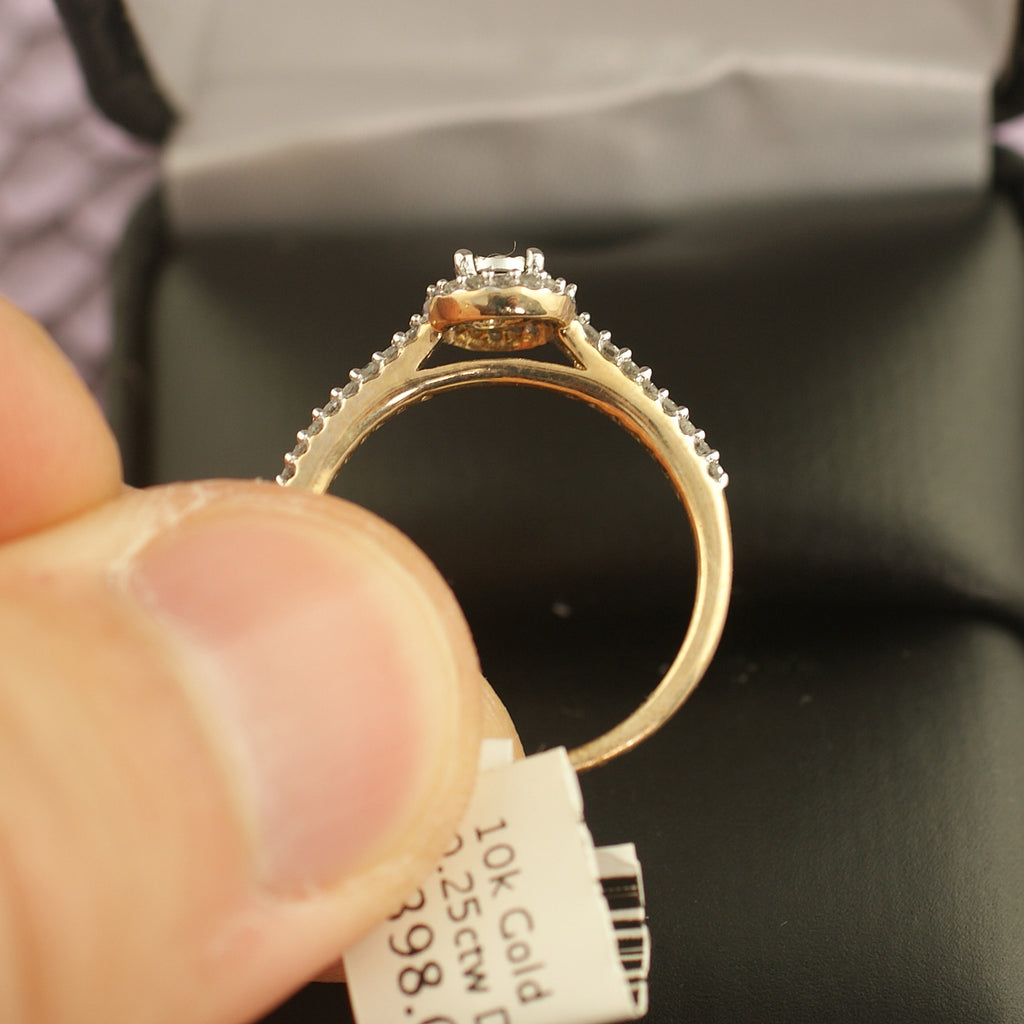 10K Gold 0.25 Carat Diamond Halo Ring