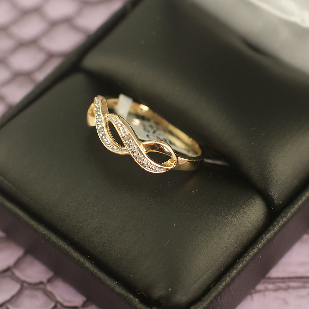 10K Gold Braided Diamond Womens Ring