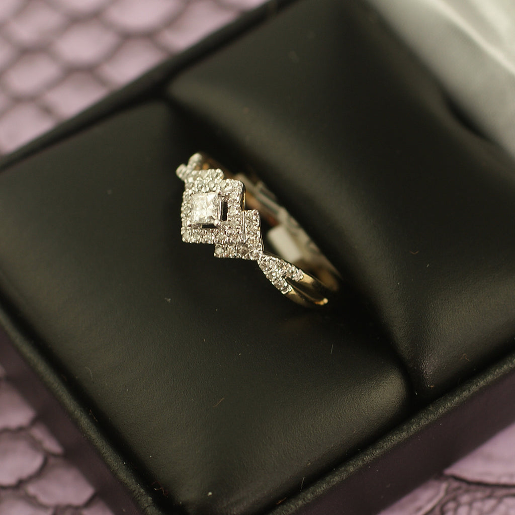 10K Gold Princess Cut 0.25 Carat Diamond Ring