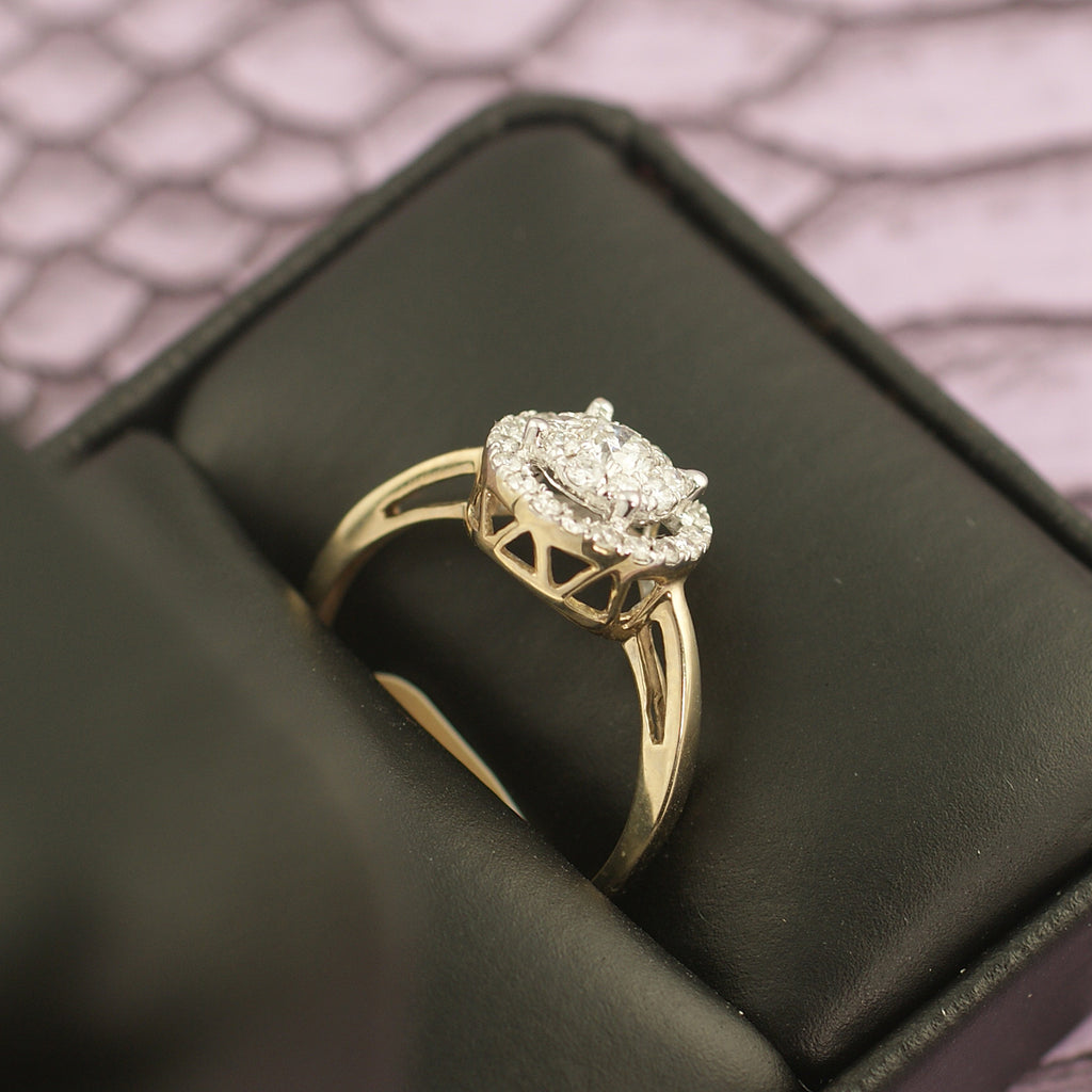 Gold 0.50 Carat Diamond Cluster Engagement Ring