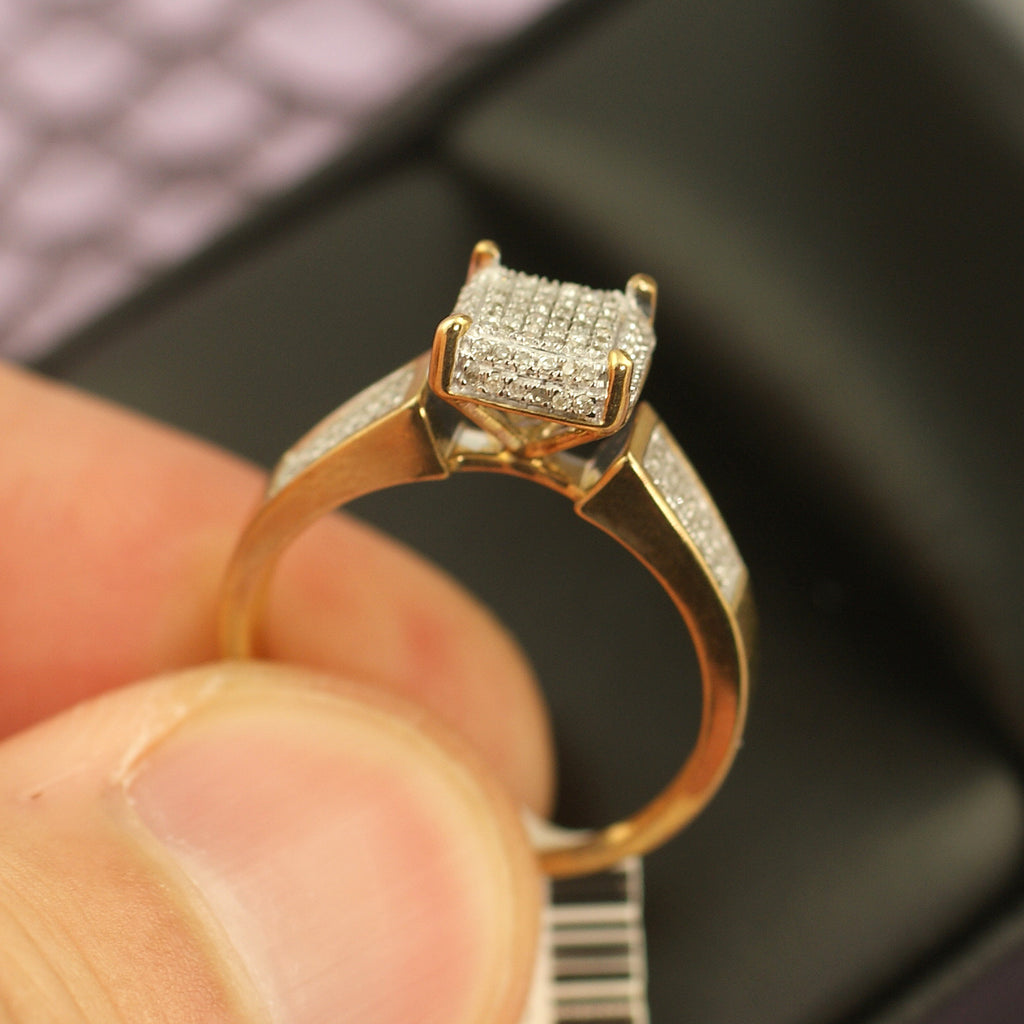 Gold 0.25 Carat Diamond Square Engagement Ring
