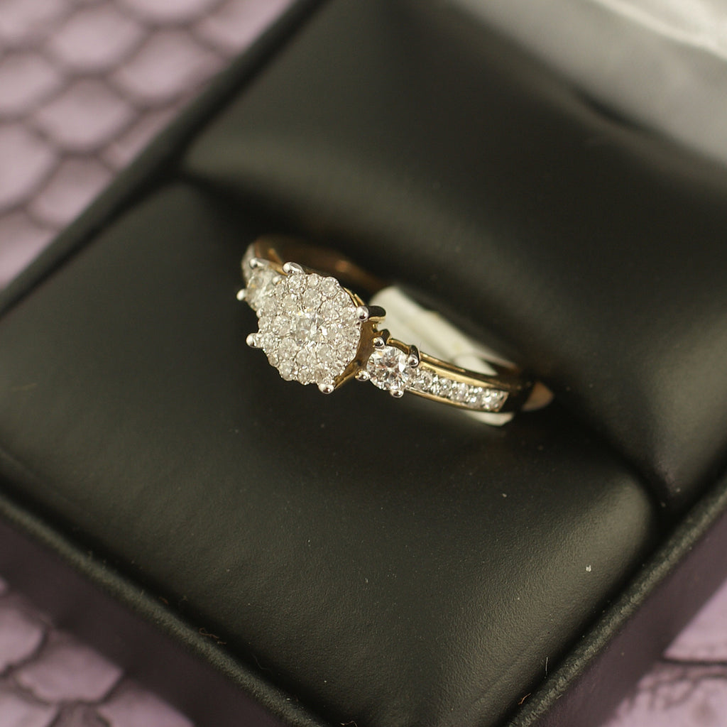 0.50 Carat Gold Cluster Diamond Engagement Ring
