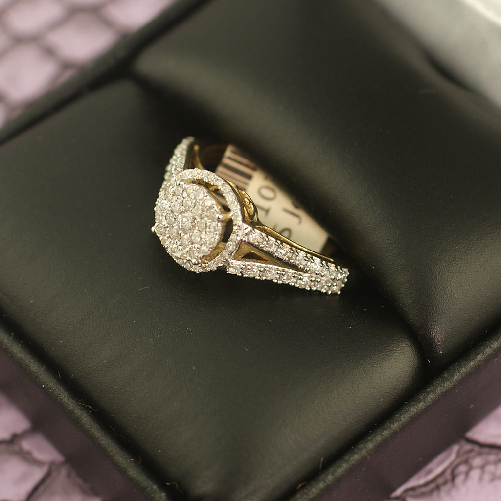 0.50 Carat Gold Halo Diamond Engagement Ring