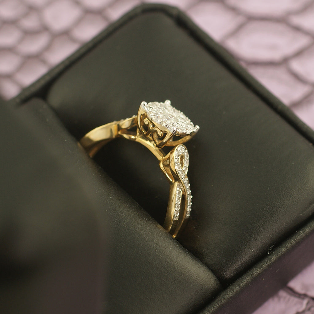 0.50 Carat 10K Gold Fancy Diamond Engagement Ring