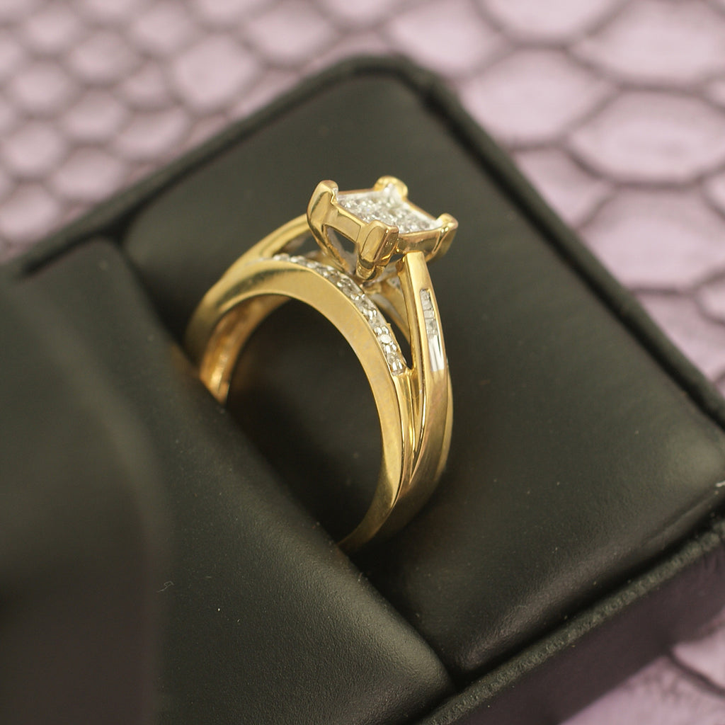 0.50 Carat Gold Princess Cut Diamond Engagement Ring