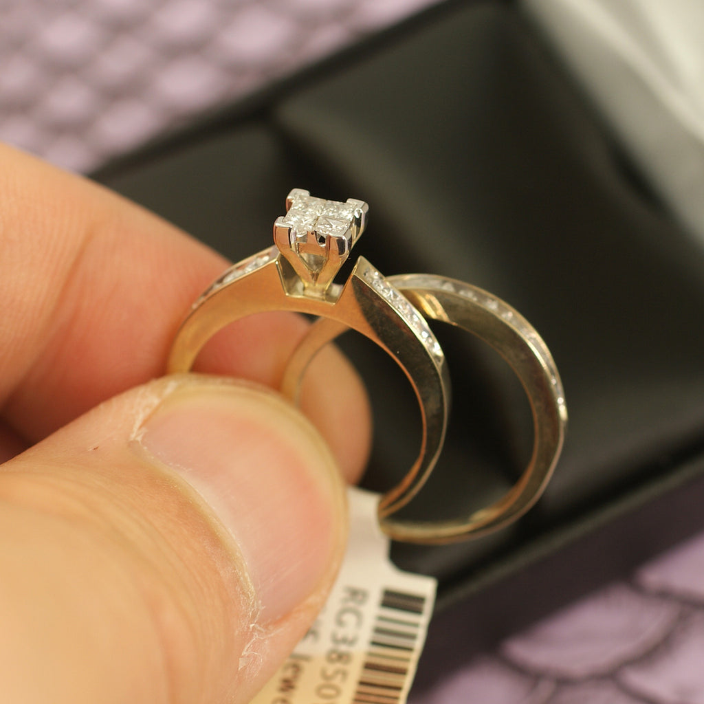 0.50 Carat Invisible Set Princess Cut Diamond Wedding Ring Set