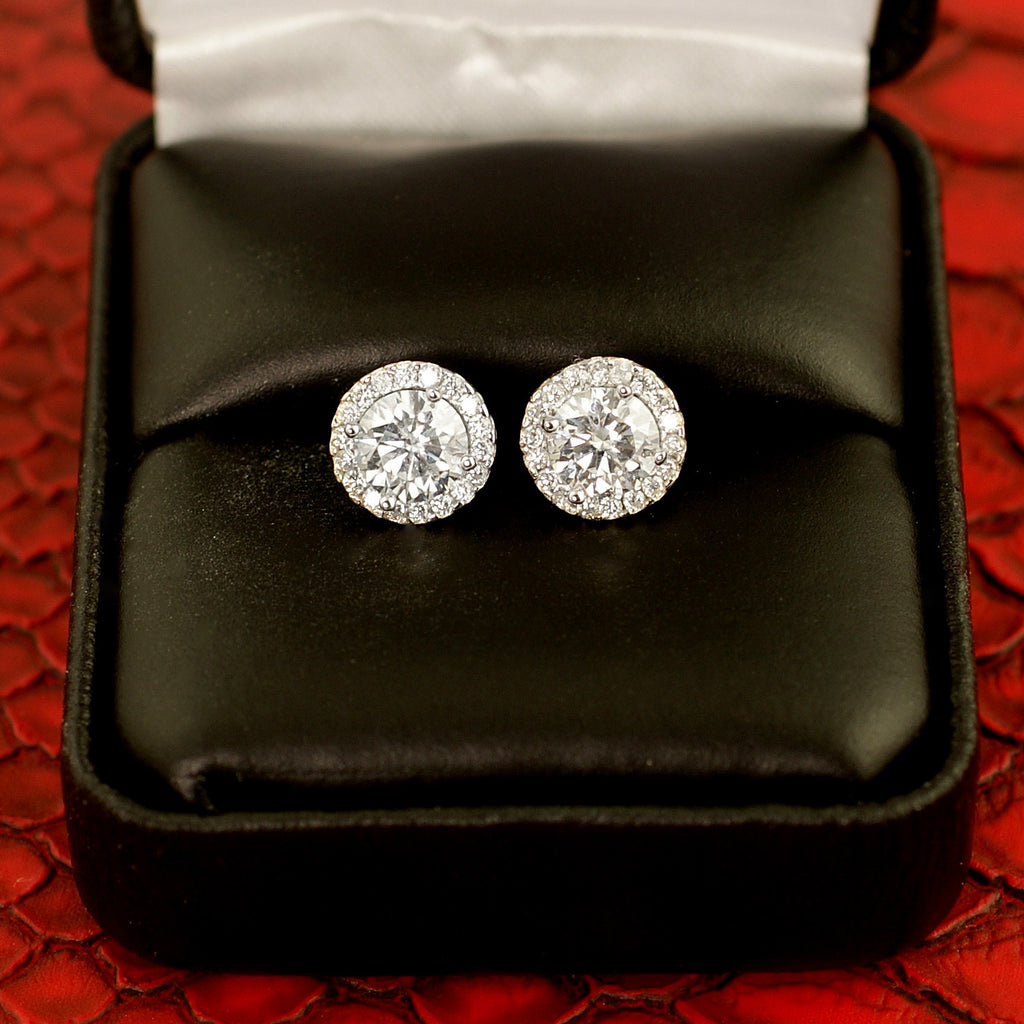 4.36 Carat Certified VVS1 Moissanite Halo Earrings
